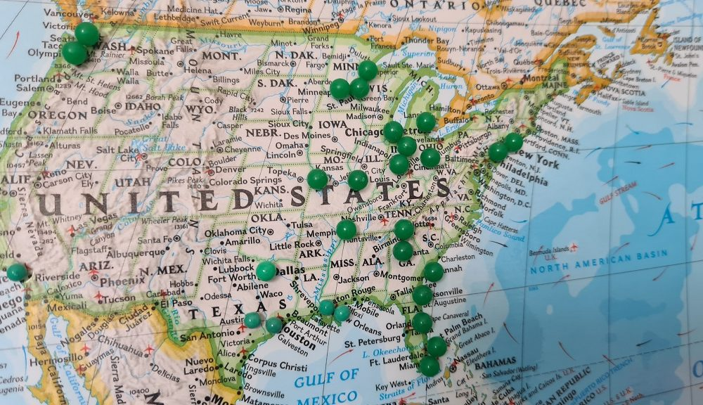 Pinned map of the United States of America